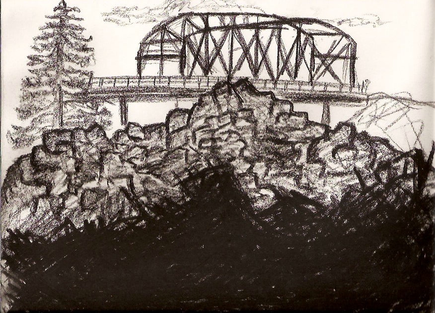 CHARCOAL SKETCH I DID THE SAME DAY OF A BRIDGE OVER THE ROGUE RIVER.