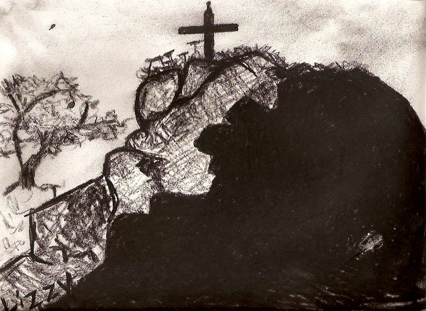 CHARCOAL SKETCH OF CROSS ON THE ROGUE RIVER