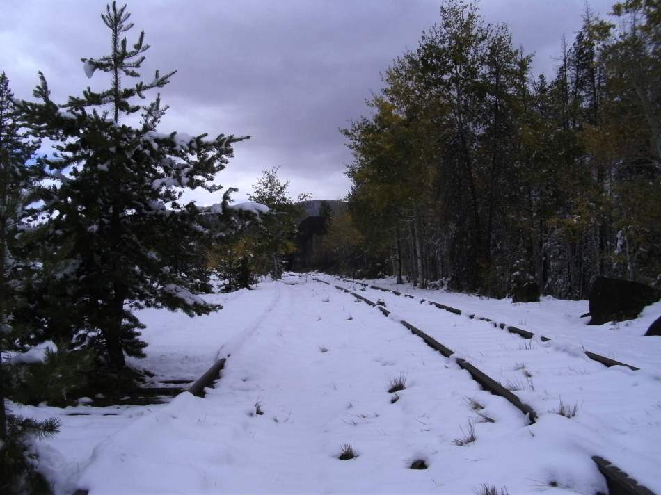 TRAIN TRACKS ON MOUNTAIN